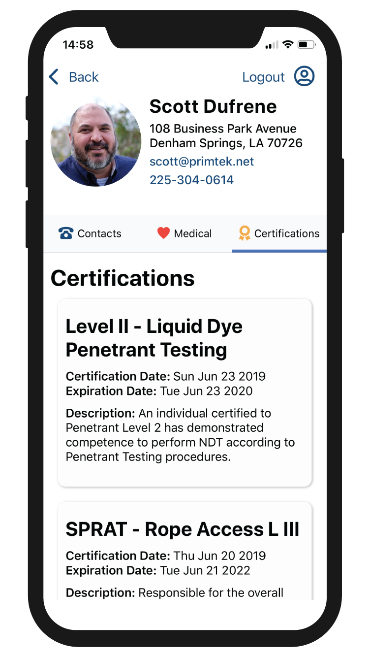 Snap ICE Certifications Screenshot