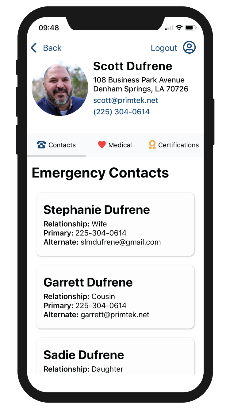 Snap ICE Emergency Contacts Screenshot
